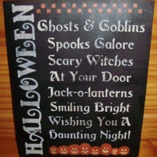 Primitive Halloween Sign decorations POEM Witches primitives witch samhain
