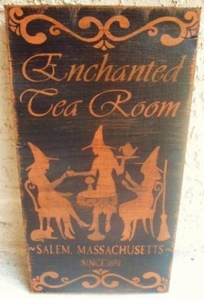 primitive Halloween witches signs decorations Enchanted Tea Room Witchcraft