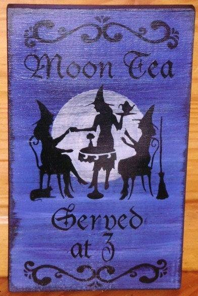 Primitive Witch Sign Blue Moon Tea Served at 3 Coffee Witch's Kitchen Witches