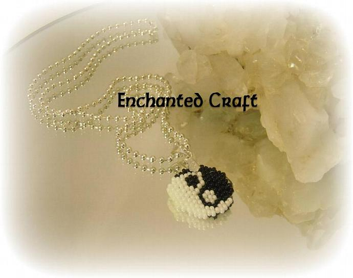 yin-yang beaded pendant traditional black & white on silver ball chain