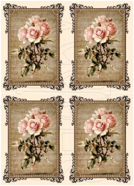 Shabby Chic sheet for scrapbook and cards  DC767 Pink Roses