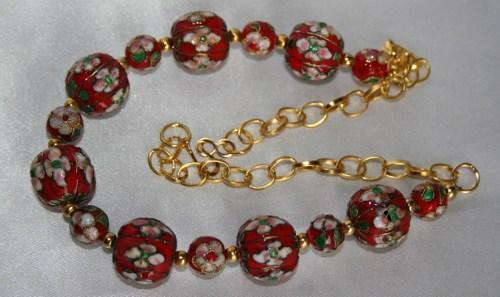 Unique Red Pumpkin Bead Cloisonne and Gold Chain Necklace
