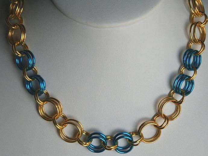 Handmade Chainmaille Peacock Blue and Gold Necklace and Bracelet