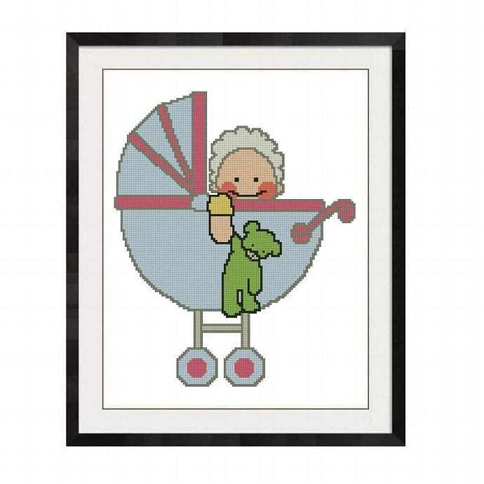 ALL STITCHES - BABY BUGGY CROSS STITCH PATTERN .PDF -821