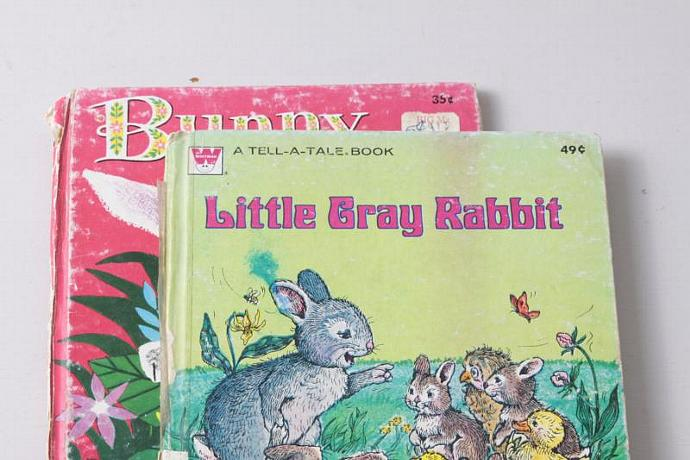 Set of 2 Vintage Books -Bunny Button and Little Grey Rabbit