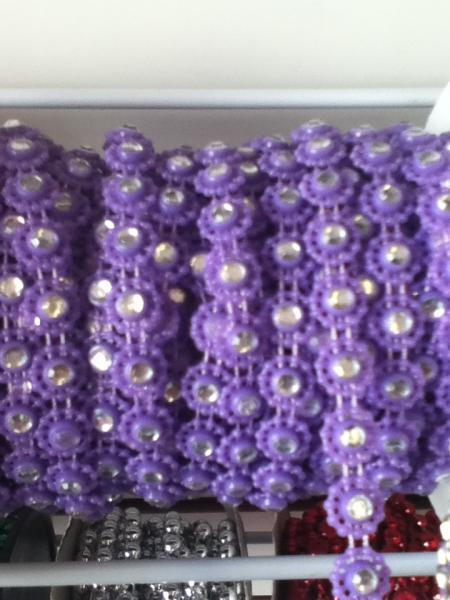 PURPLE Flower Bling Trim