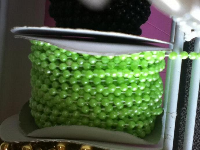 lime  4mm pearls 3 yards