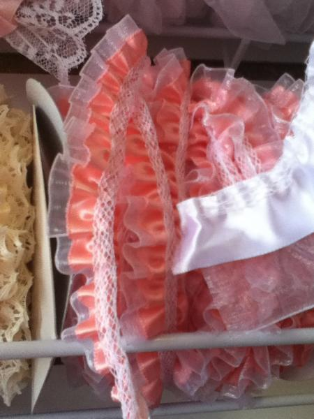 Small peach Satin and organza trim 2yards