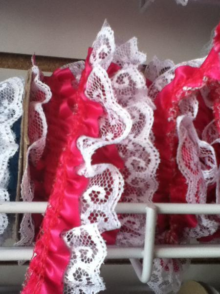 Medium Fuchsia Satin and lace trim 2yd