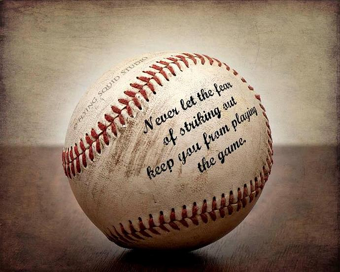 vintage baseball art never let the fear of by squidphotos on