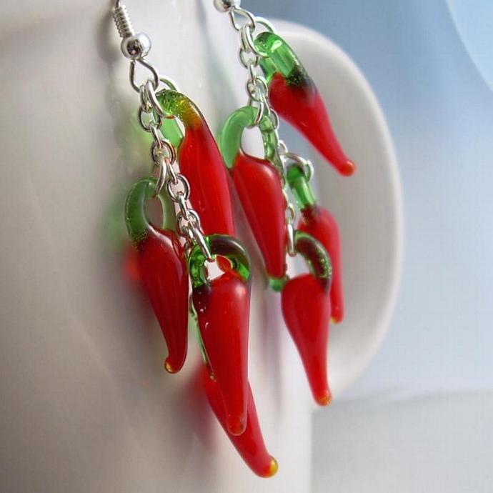 Chili Pepper Earrings, Red Lampwork Glass Vegetables