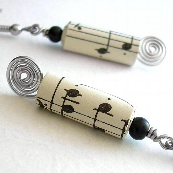 Recycled Paper Earrings, Vintage Sheet Music