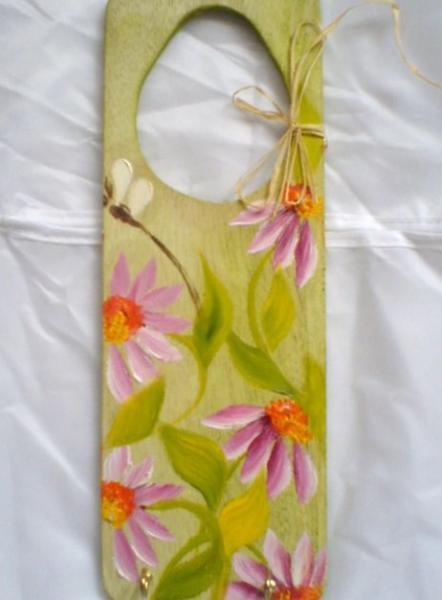 HandPainted Wood Door Hanger pink flowers