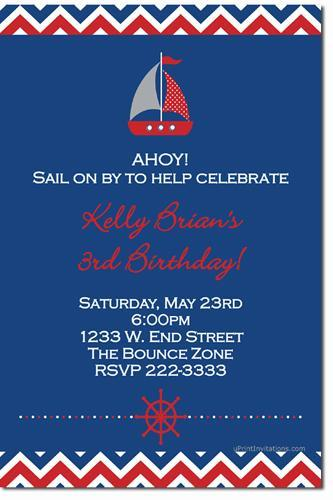 Nautical Birthday Party Invitations (Download JPG Immediately)