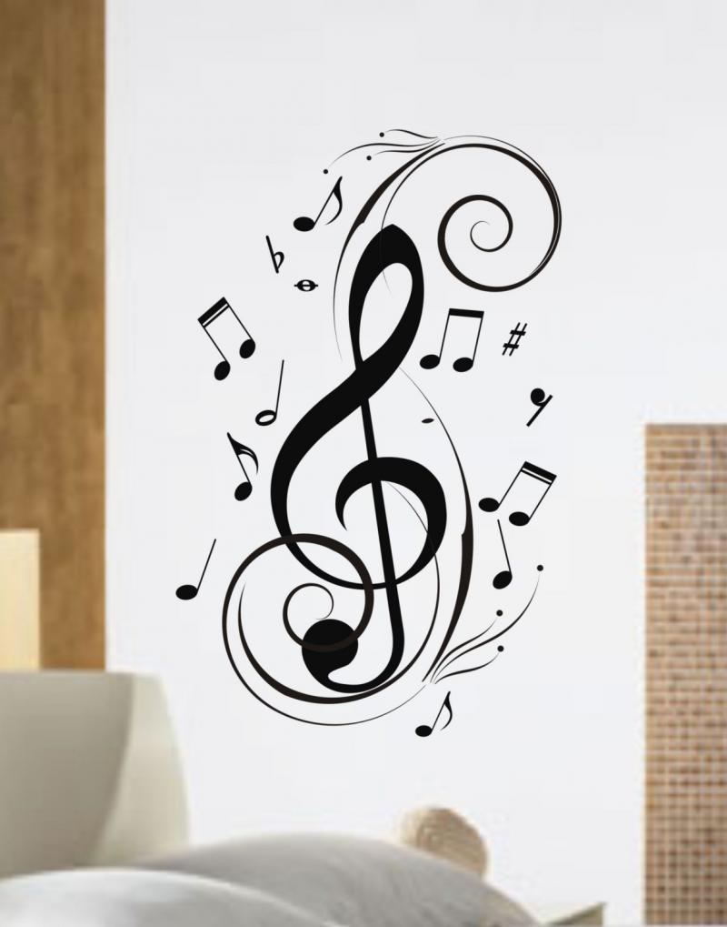 Music Notes Design Decal Sticker Wall Instrument C