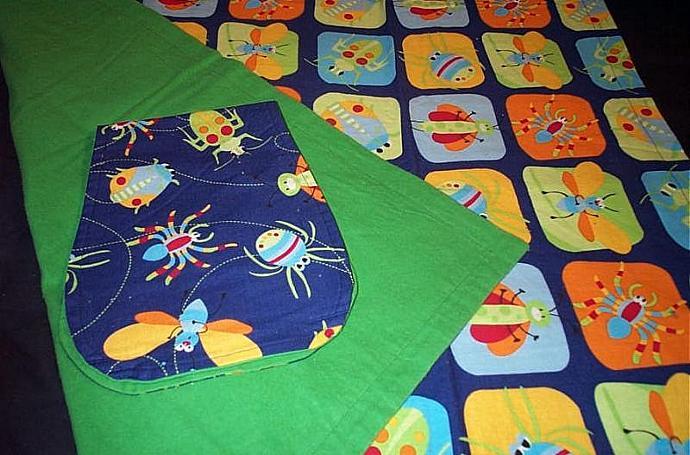 "100% cotton BUG patch blanket, 34"" x 41"" and BUG Burp cloth."