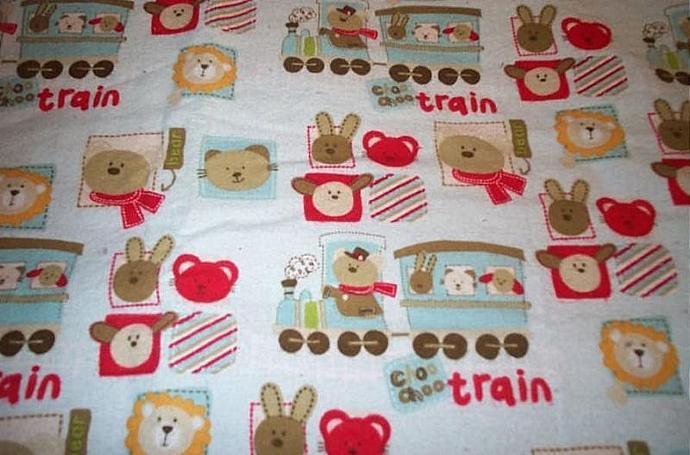 "100% cotton flannel blanket.  Trains, bears, bunnies, cats, lions.     39 1/2"" X"