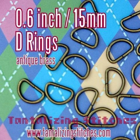 15 Antique Brass Unwelded D rings - 0.6 inch / 15