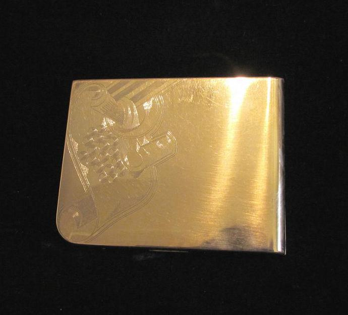 Vintage Cigarette Case Elgin American Case 1940's Gold Cigarette Case Business