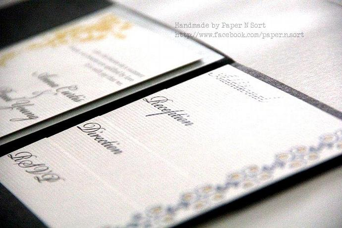 Modern Handmade Wedding Invitation - Pocket Fold Invitation Set with 4 Inserts -