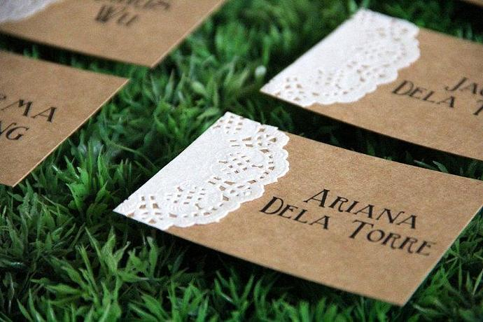 Set of 24 Rustic Doily Place Card - Personalized Wedding Place Card - Name Tag -