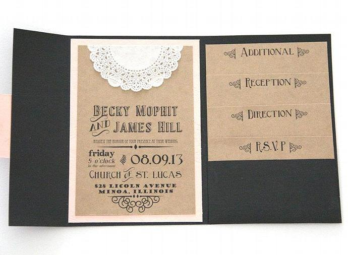 Rustic Wedding Invitation - Pocket Fold Invitation Set with 4 Inserts -