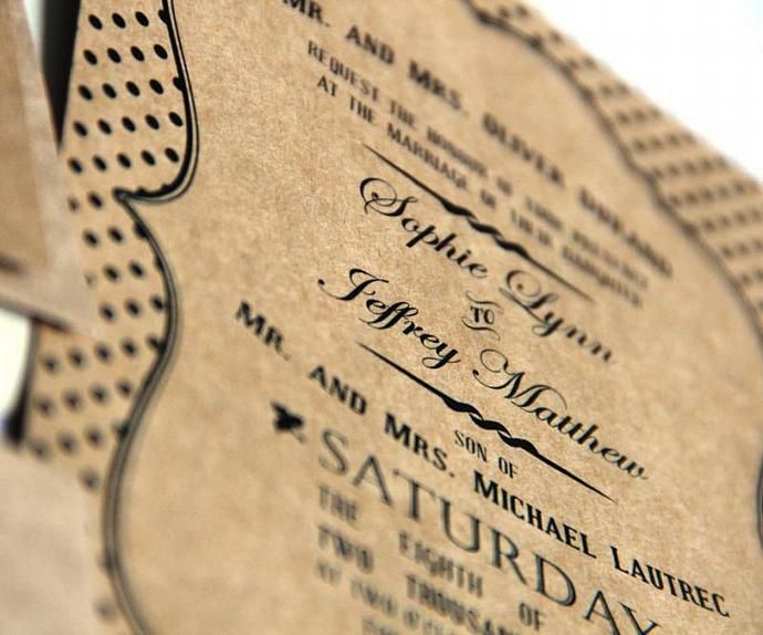 Rustic Typography Wedding Invitation - Handmade Invite and RSVP - Eco Friendly
