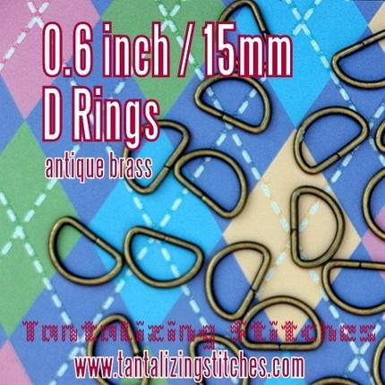 40 Antique Brass Unwelded D rings - 0.6 inch / 15
