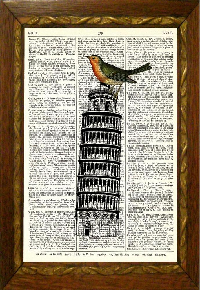 Birdzilla on Tower of Pisa, Dictionary Page by TheMuckyDuck on Zibbet