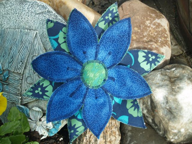 Handmade Fabric Flower Centrepiece Blue and Green