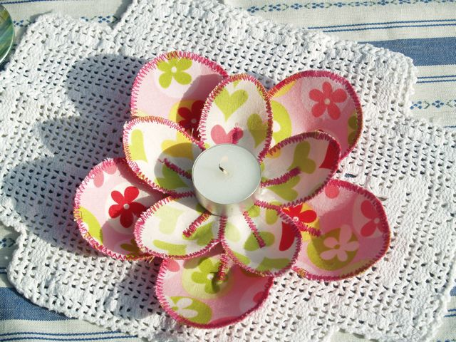 Handmade Fabric Flower Centrepiece Pink and Green