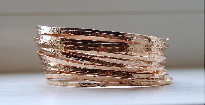3 Rose Gold Filled Hammered Thin Stack Bangles Bracelets