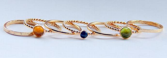 14k GOLD FILLED Peridot, Citrine, Sapphire Stackable Birthstones Mothers rings,