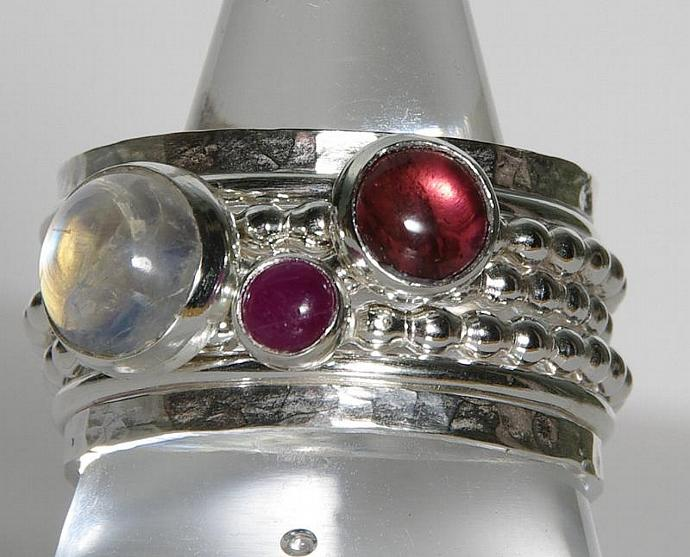 Pink Tourmaline Ruby Rainbow Moonstone Birthstone Ring Mothers Ring Birthstone