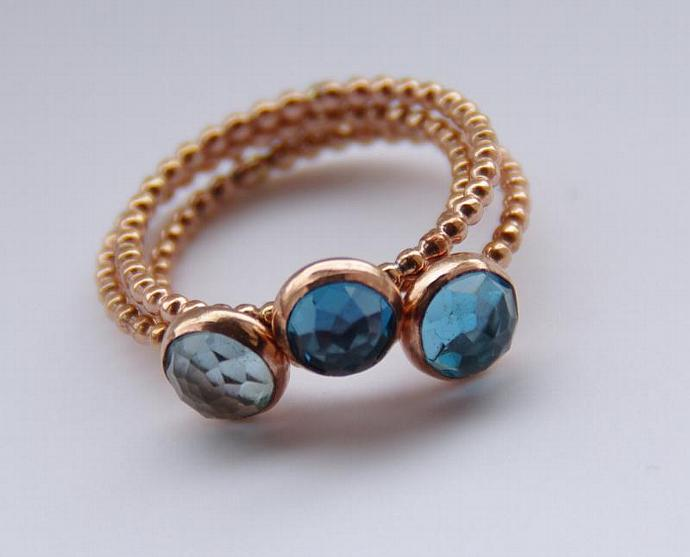 One ROSE Gold Filled London Blue, Swiss Blue OR Sky Blue Topaz Stacking Ring -
