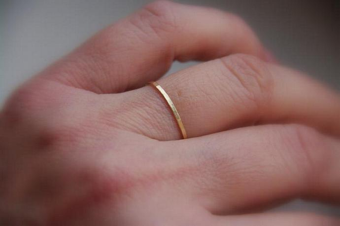 Skinny solid 14k rose pink gold stacking ring,  wedding band, slim stacking ring