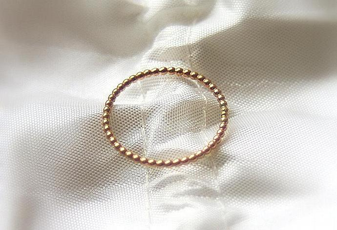 2 (Two) 14k ROSE gold beaded/ dotted bands - wedding rings, stack rings
