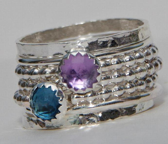 Stacking Ring Sterling Silver - Amethyst Gemstone - London Blue Topaz Gemstone -