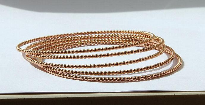 Set of 3 14k ROSE Gold Filled Stacking Bangles - Rose Gold Filled Stackable