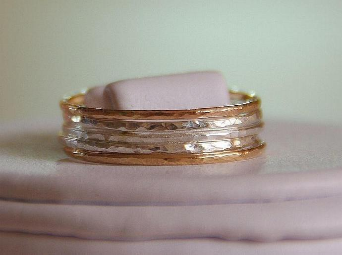 Set of 5- 14k gold filled and sterling silver stack/stacking/stackable/band