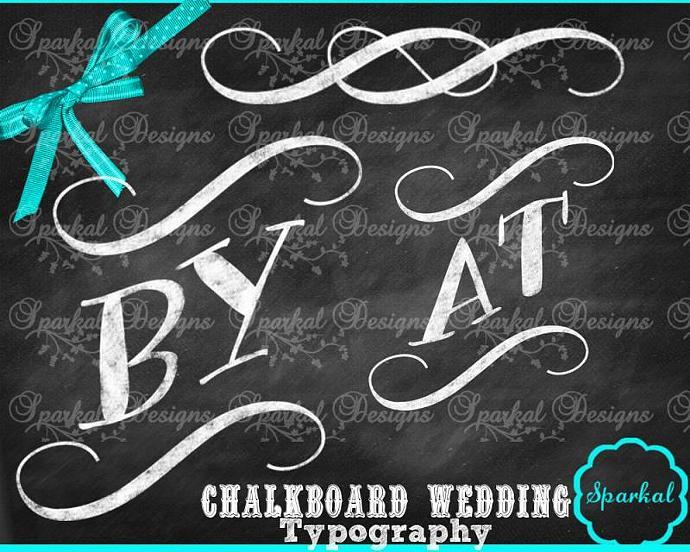 Chalkboard Wedding Typography ClipArt Clip Art Rustic