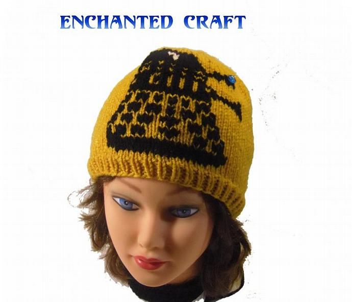 Hand Knitted Gold DALEK Hat inspired by Dr Who