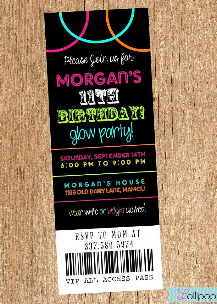 Glow Party Printable Birthday Invitation, Personalized Digital Glow Party Invite