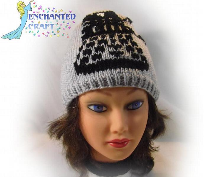 Hand Knitted grey DALEK Hat inspired by Dr Who