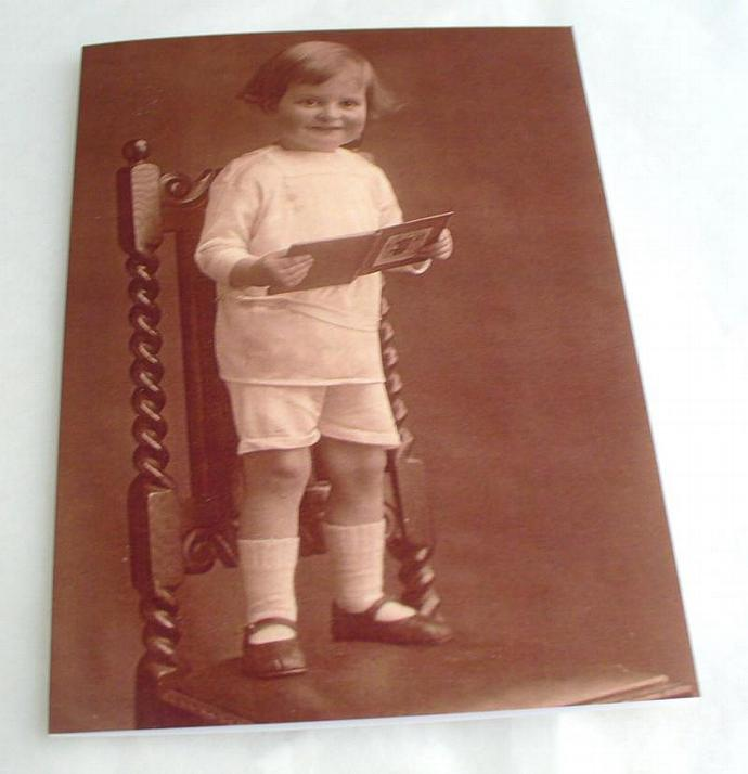 Blank Greetings Card  Toddler on Chair Boy featuring Vintage Image   Choice of