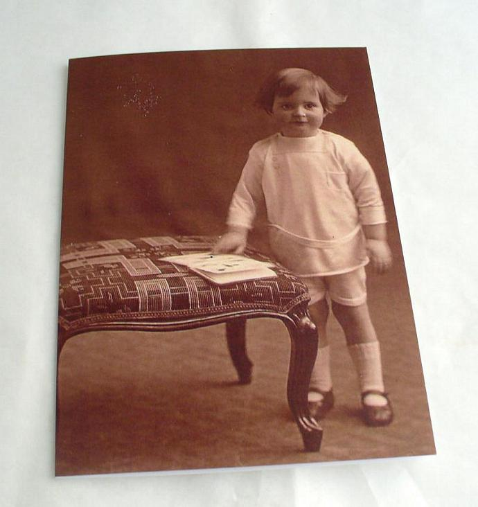Blank Greetings Cards  featuring Vintage Image Standing Toddler Boy    Choice of