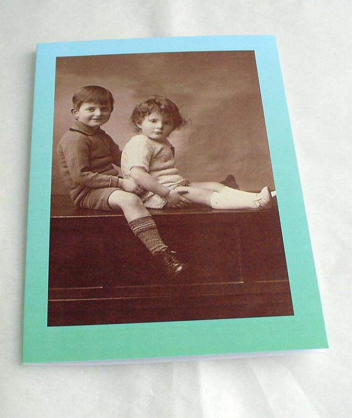 Seated Boys Blank Greetings Cards  featuring Vintage Images   Choice of border