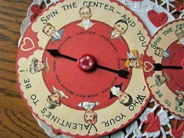 "A Vintage Inspired Valentine Game Spinner-Words on the Spinner say- ""Spin the"
