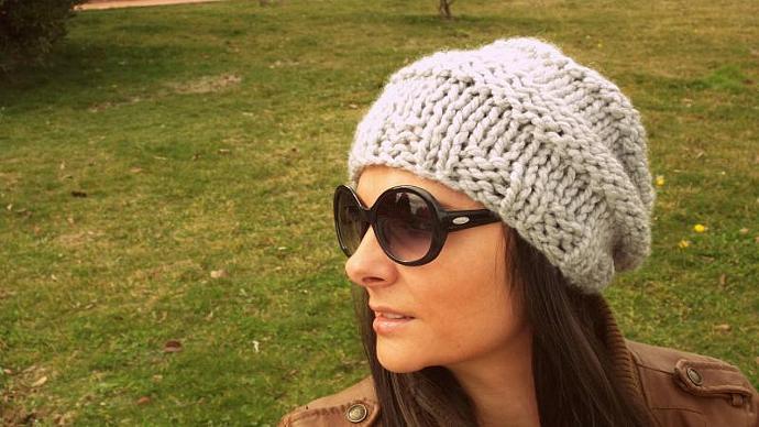 Grey handmade hat,women hat,slouchy beanie,cloche,winter accessories,knit