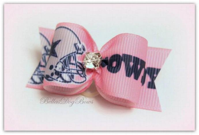 Football Inspired Dog Bow
